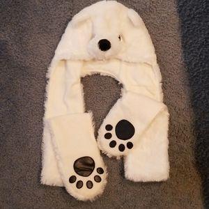 Girls polar bear hat and scarf